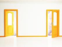 Two open orange doors Stock Images