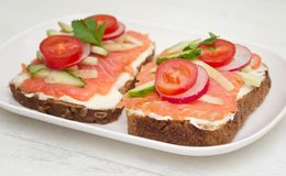 Two open sandwiches royalty free stock images