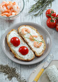 Two open sandwiches stock images