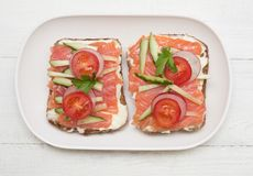 Two open sandwiches royalty free stock photo