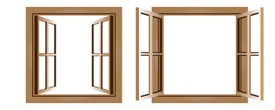 Two open windows Royalty Free Stock Photo
