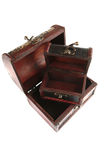 Two open wooden chests Stock Images