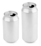 Two opened aluminum cans of beer on white Stock Photography