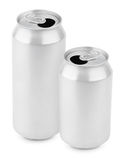 Two opened aluminum cans of beer on white stock photos
