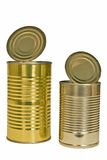 Two Opened Aluminum Cans Isolated Stock Photo