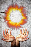 Two opened hands upwards and fire flames crown. Crack marble surface. Two open hands upwards welcome a fiery crown of fire and flames. Antiqued style marble stock illustration