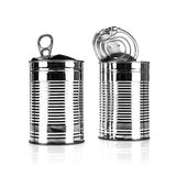 Two Opened tin cans Stock Photography