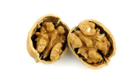 Two opened walnut halves. On a white background royalty free stock photos