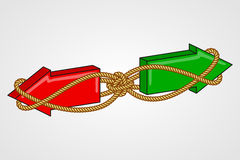 Two opposing arrows bound with rope Royalty Free Stock Image