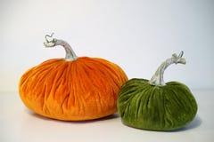 Two opposing velvet pumpkins Stock Images