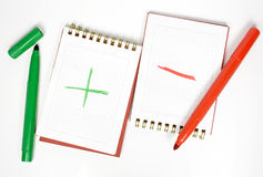 Two opposite notebook. With plus and minus and two felt-tip pencils Stock Photography