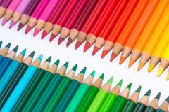 Two Opposite Rows with Colorful Crayons Stock Photography