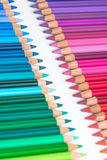 Two Opposite Rows with Colorful Crayons Royalty Free Stock Photo