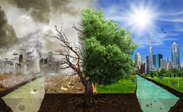 Two options / sides , eco concept, eco digital art. Pollution vs. healthy environment royalty free stock photos