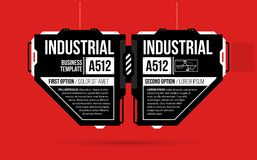 Two options template with hi-tech elements in black and red techno style. On flat vibrant background Royalty Free Stock Images