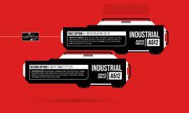 Two options template with hi-tech elements in black and red techno style. On flat vibrant background Royalty Free Stock Photo