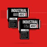 Two options template with hi-tech elements in black and red techno style. On flat vibrant background Stock Photo