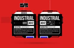 Two options template with hi-tech elements in black and red techno style. On flat vibrant background Royalty Free Stock Image