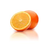 Two orange. With reflex on a white background Stock Photos