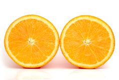 Two orange. On a white background Stock Photos