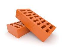 Two orange brick 3d on white background Stock Photo