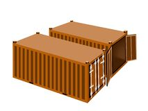 Two Orange Cargo Containers on White Background Royalty Free Stock Image