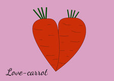 Two orange carrots merged with each other in the form of heart. Royalty Free Stock Photo