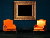 Two orange chairs and wood table with empty frame Royalty Free Stock Images