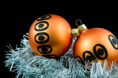 Two orange christmas balls Stock Photography