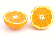 Two orange cut. Fresh orange cut isolated in background white Stock Photography