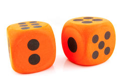 Two orange dice Stock Photo