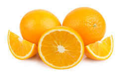 Two orange and few slices Royalty Free Stock Image