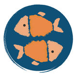Two orange fish in a blue circle. Printing and badge applique label for t-shirts, clothing. The orange-yellow fish in the blue circle Royalty Free Stock Photo