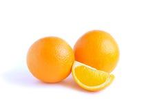 Two orange fruit and lobule Stock Photography