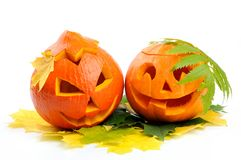 Two orange halloween pumpkins Jack O Lanterns Royalty Free Stock Image