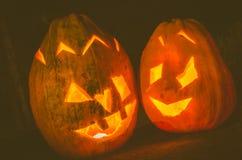 Halloween pumpkin at night Royalty Free Stock Photos