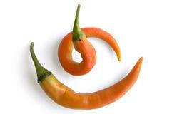 Two orange hot pepper pod Stock Photos