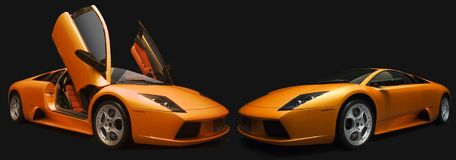 Two Orange  Lamborghinis. Royalty Free Stock Images