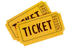 Two orange movie tickets isolated on a white background. Royalty Free Stock Photography