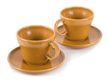 Two orange mugs for coffee Royalty Free Stock Photos