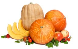 Two orange and one yellow pumpkins with three slices , two apples and rosehips. With leaves isolated on white royalty free stock image