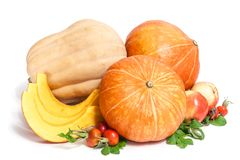 Two orange and one yellow pumpkins with three slices , two apples and rosehips with leaves. Isolated on white stock images
