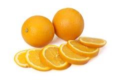 Two orange and orange segments . Two orange and orange segments on a white background royalty free stock photo