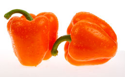 Two orange peppers Stock Image
