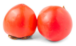 Two orange ripe persimmon Stock Photo