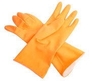 Two orange rubber gloves Stock Photography