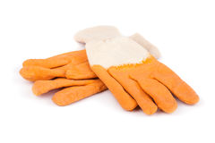 Two orange rubber gloves Stock Images