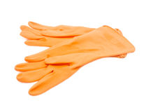 Two orange rubber gloves. Royalty Free Stock Photos