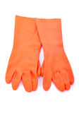 Two orange rubber gloves isolated Stock Image