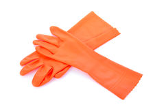 Two orange rubber gloves isolated Stock Photo